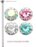Extra long sterling silver ,star set  round nose stud.3 colours